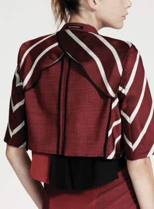 Young British Designers: Stripe Tie Inside Out Jacket by Tim Soar - There is something so sexy about Tim Soar's tailoring for women. This jacket adds old school Just William appeal to a very contemporary and tailored take on womenswear.