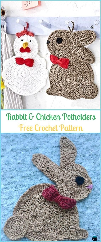 Crochet Rabbit and Chicken Potholder Free Pattern -  Easter #Crochet; Chicken #Potholder; Free Patterns