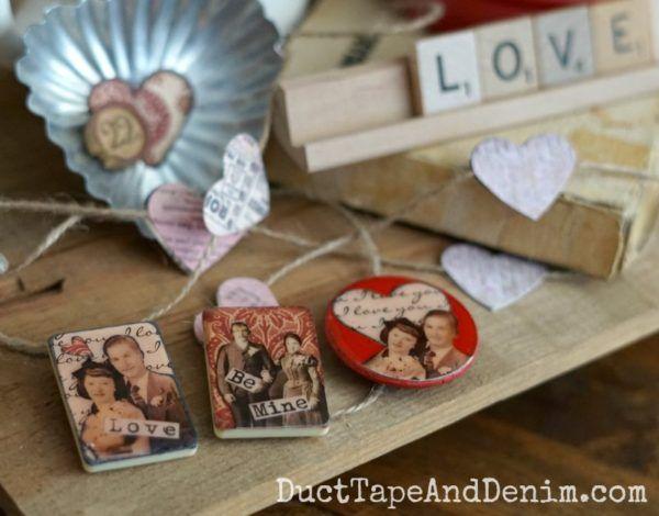 Vintage game piece Valentine's Day magnets   DuctTapeAndDenim.com
