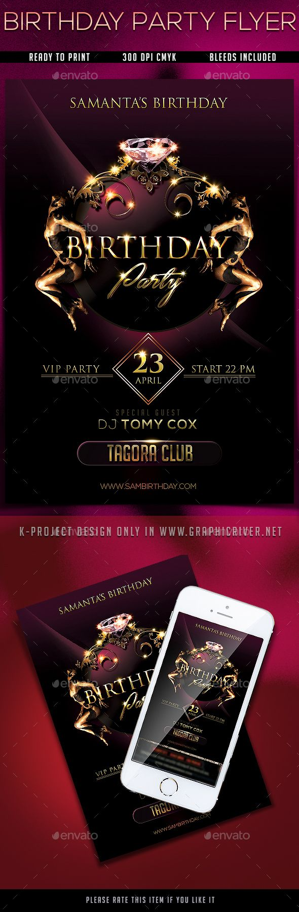 Birthday Party Flyer Design Template - Events Flyers Design Template PSD. Download here: https://graphicriver.net/item/birthday-party-flyer/19323023?ref=yinkira