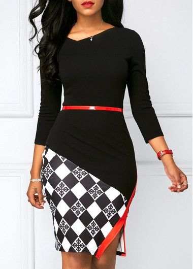 Black Three Quarter Sleeve Side Slit Dress | Rosewe.com - USD $31.29