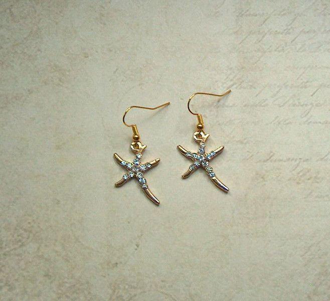 Ohrhänger - Ohrringe Seestern Strass Gold Maritim - ein Designerstück von MiMaKaefer bei DaWanda