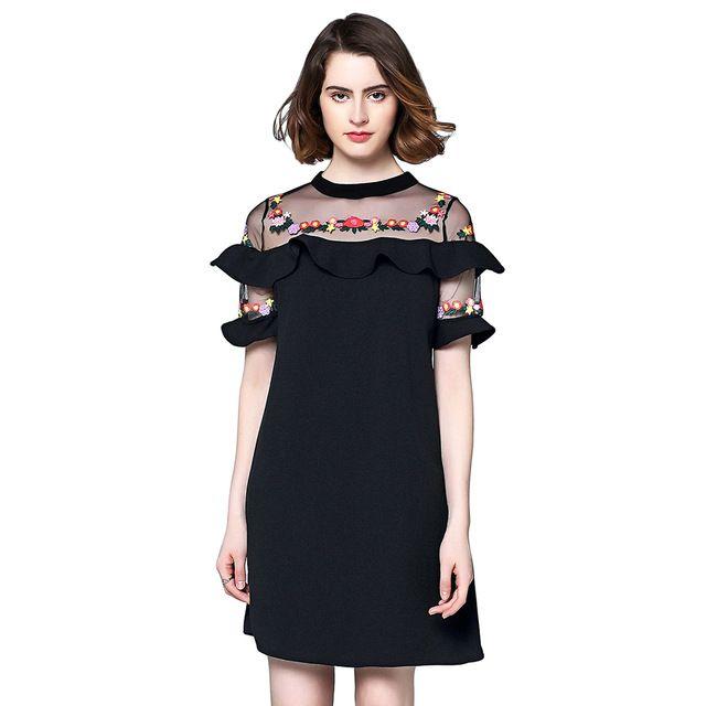 e7aaa68d227 Plus Size Embroidered Dresses Elegant Floral Ruffles A Line Mini Dress 2017 Short  Sleeve Mesh Neck Vintage Black Dresses Women  8.99  dress  model ...