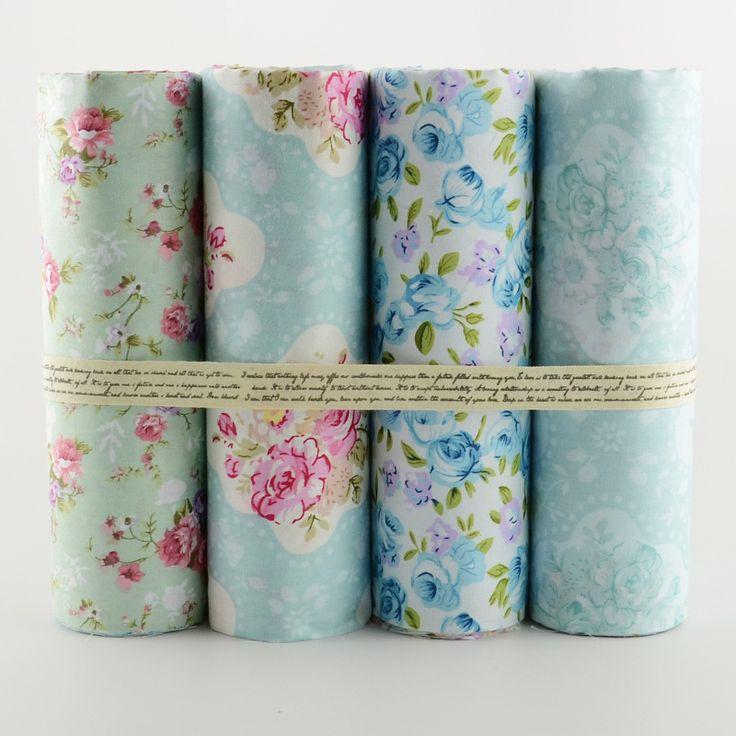 Купить товар2015 новый 4 ШТ. 40 см х 50 см голубой комплект цветок ситец ткань для квилтинга лоскутное tecido тела одежда постельные принадлежности tissus в категории Тканьна AliExpress.