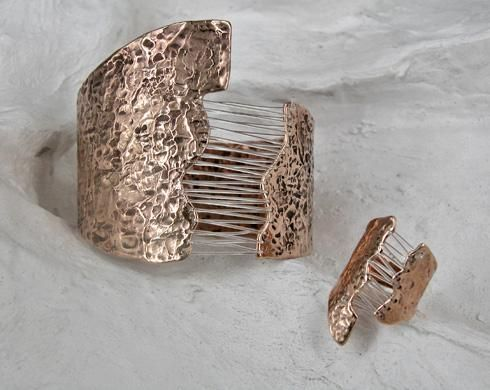 "Laura Volpi ""Architecture"" series. Bracelet and Ring."