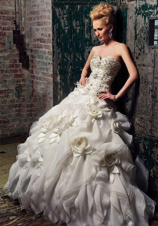 White and gold rose sweetheart corset sparkle bling for Big bling wedding dresses