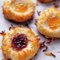 Jam Thumbprint Cookies - Ina  So yummy! I use a bit of water and make wider and deeper indentations to hold more preserves.