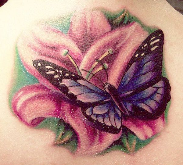 butterfly tattoo with flowers 15 - 50 Butterfly tattoos with flowers for women  <3 <3
