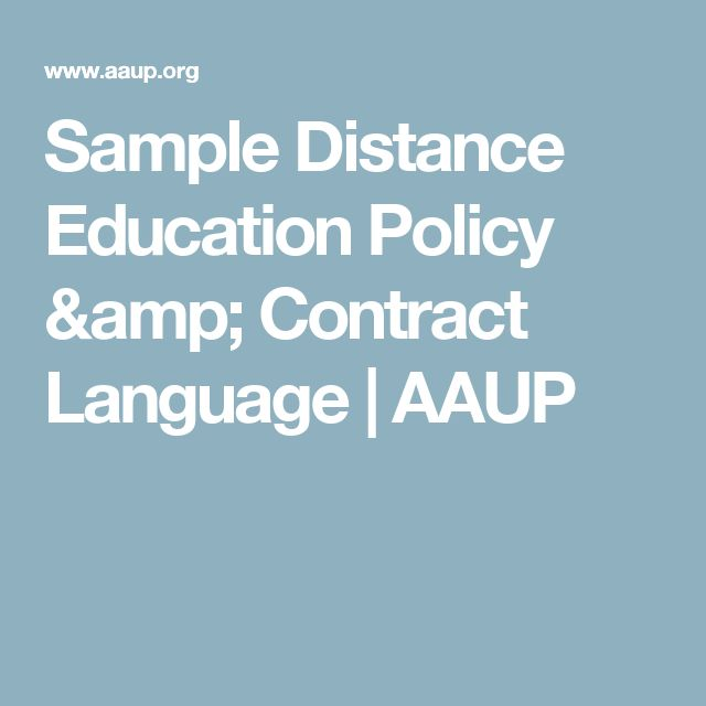 Sample Distance Education Policy & Contract Language | AAUP