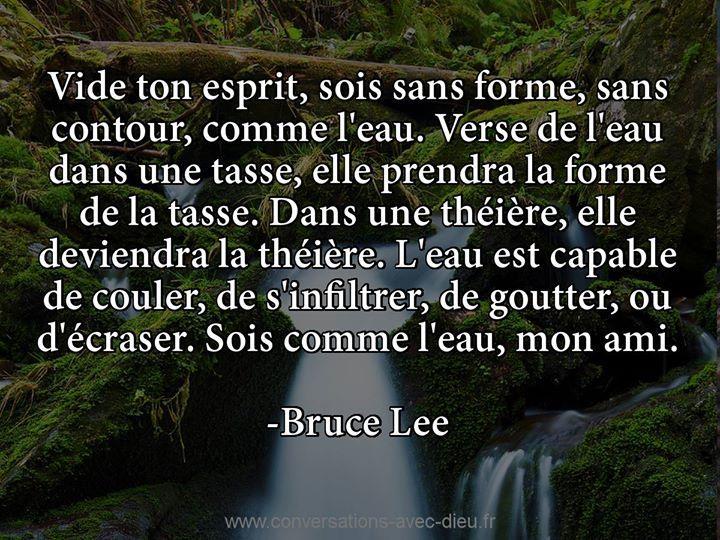 """""""Vide ton esprit sois sans forme sans contour comme l'eau. Verse de l'eau dans un tasse elle prendra la forme de la tasse. Dans un théière elle deviendra la théière. L'eau est capable de couler se d'infiltrer de goutter ou d'écraser. Sois comme l'eau mon ami.""""  -Bruce Lee  http://ift.tt/1V9s8wk"""