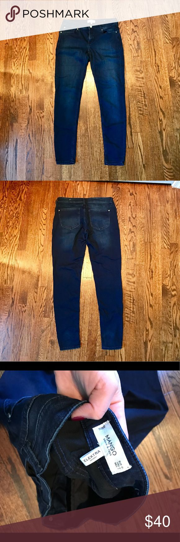 Mango Elektra Skinny Stretch Blue Jeans Sz 40 Sz 8 Mango Elektra Skinny Stretch Blue Jeans Sz 40 Sz 8 - only worn and washed once, extremely soft Fabric, mid rise, looser fit Mango Jeans Skinny