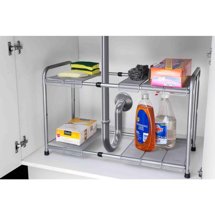 11.50 in. x 23.5 in. 2-Tier Adjustable and Kitchen Shelf Organizer, Gray