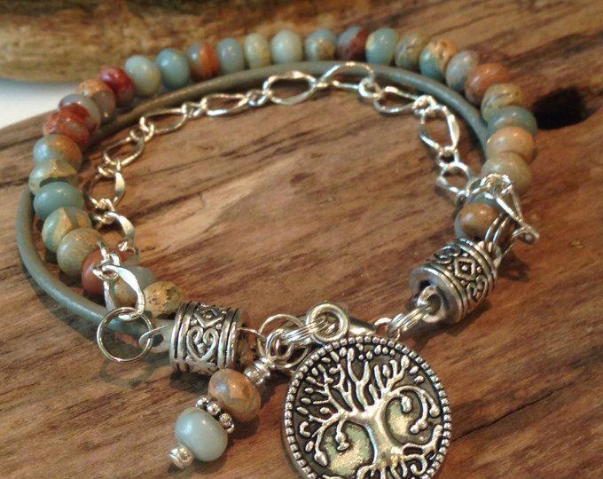 Beaded Boho Bracelet, Jasper Beaded Bracelet, Boho Bracelet, Semi precious Rondelle jasper, Single Wrap, Charm Bracelet, Custom, Gift