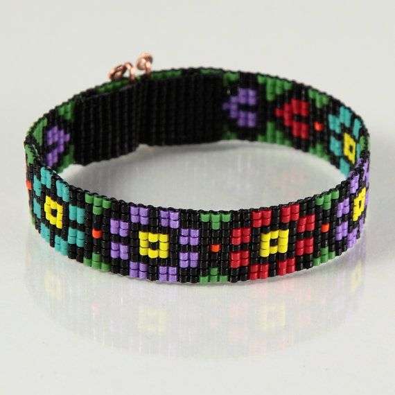 Guatemalan Fantasy Bead Loom Bracelet Artisanal Jewelry Southwestern Native South American Christmas Gift for Her Colorful Beaded Bracelet