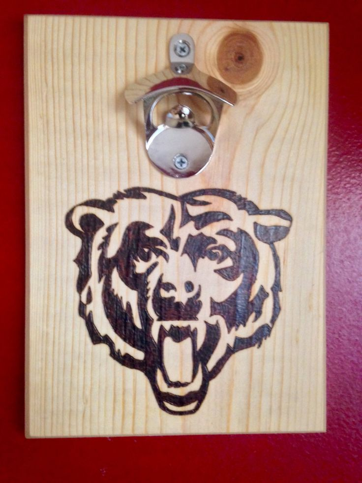 Chicago bears wood burned bottle opener nfl wall mounted w magnetic cap catch
