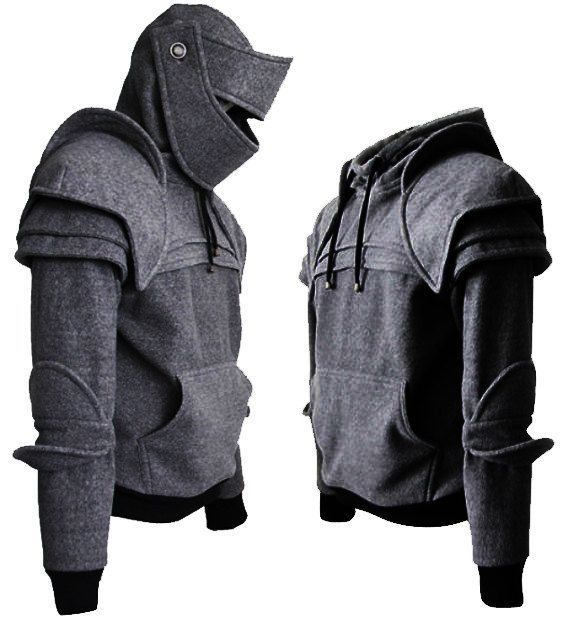 Dark Grey Duncan Armored Knight Hoodie(100% Handmade) Made To Order