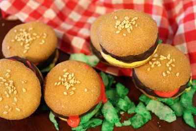 mini burger cookies | Gluttony | Pinterest
