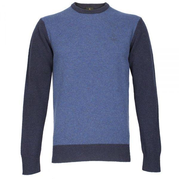 Vivienne Westwood Contrast Orb Crew Knit: Blue
