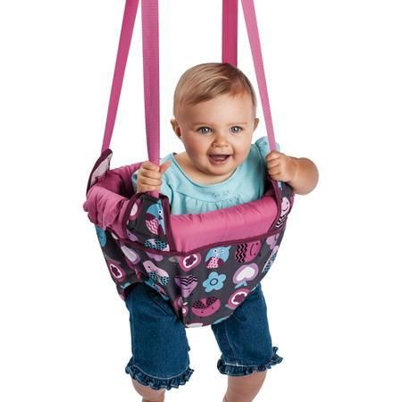 Baby Plays Evenflo Jenny Jump Up, Pink Bumbly - Developmental Baby Toys