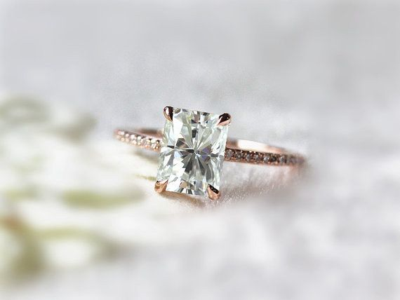 This classic emerald-cut moissanite beauty: | 43 Rose Gold Engagement Rings That Are Beyond Beautiful