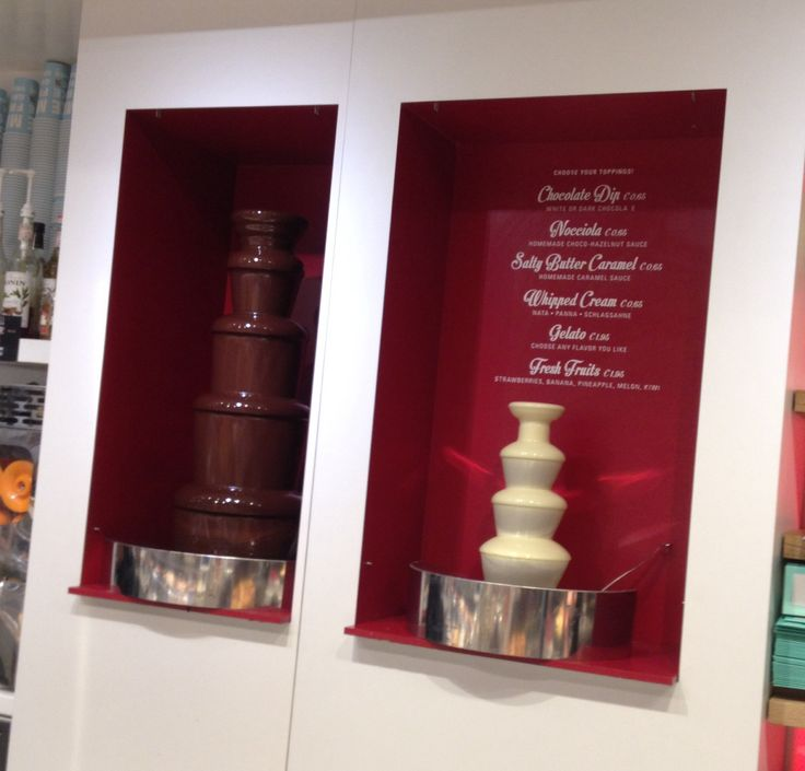 Chocolate fountains in a cafe in Amsterdam. #chocolate #Amsterdam