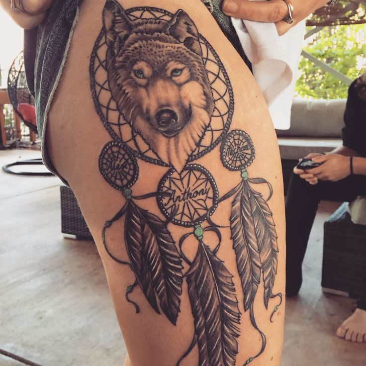 Wolf dreamcatcher tattoo
