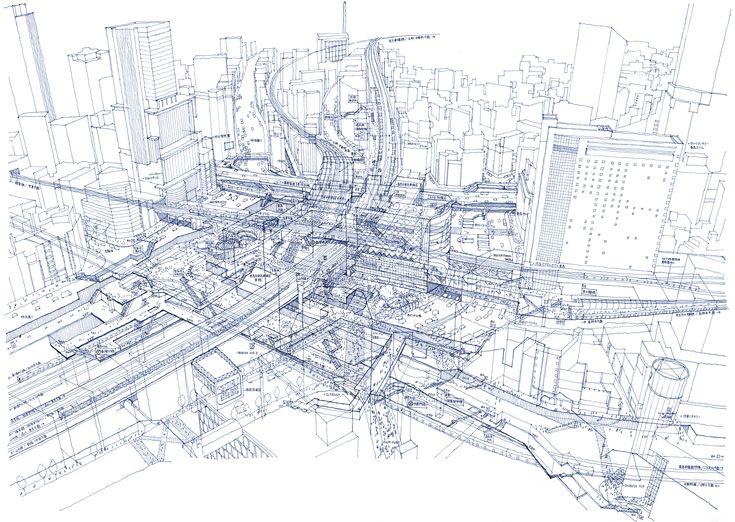 Dismantling of Shibuya Station.