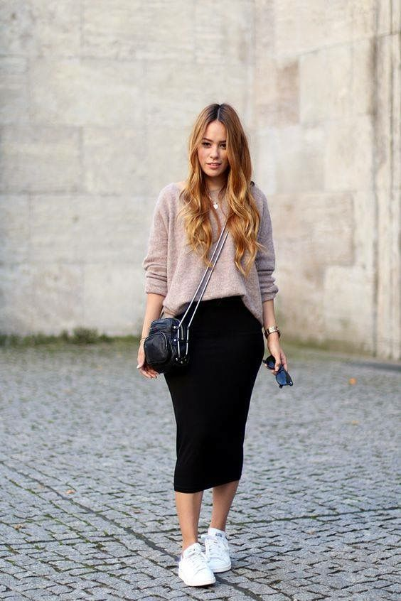 Fitted Mid Calf Skirt