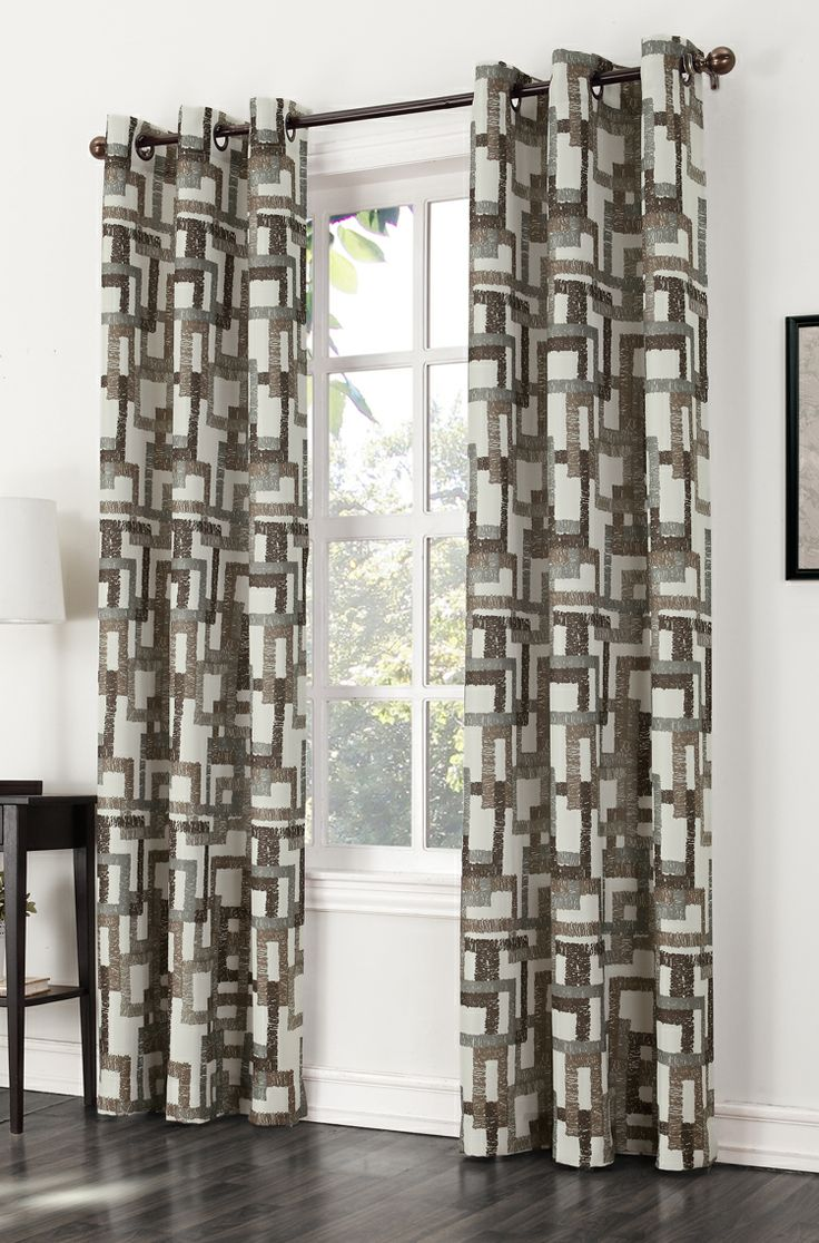 Modern grommet top curtains - The Kaveri Grommet Curtain Features A Modern Multi Color Block Print On A Woven Fabric With