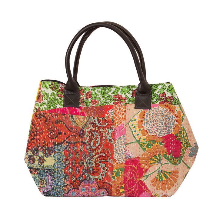 Floral handbag with traditional Kantha stitch. Fresh colours for summer. #thehuesofindia #kantha #handbag #gifts