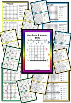 This FREE math center game has 12 diffent task cards over 4 levels and full solutions provided for each card.  Students need to identify that the points on a cartesian plane are represented by what is called an ordered pair or coordinates as ( X value, Y value )  Level 1 - Over 1 Quadrant Up to 10 on X and Y axis Level 2 - Over 1 Quadrant Up to 15 on X and Y axis Level 3 - Over 4 Quadrants from -5 to 5 on X and Y axis Level 4 - Over 4 Quadrants from -8 to 8 on X and Y axis  This freebie is…