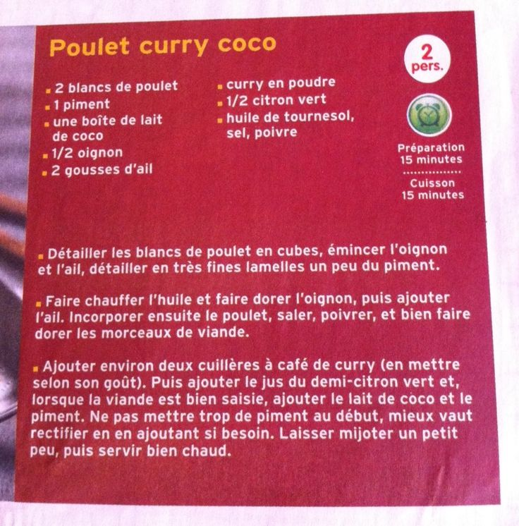 Poulet curry coco Isa hyper simple et super bon