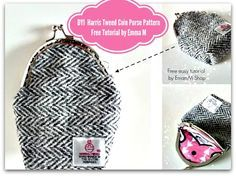 How to Draft your own Basic Harris Tweed Coin Purse Pattern  by Emma M