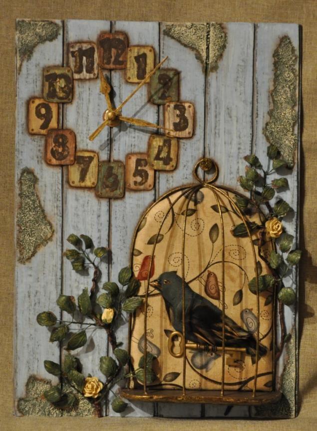 "Часы ""В старом саду""(смешанная техника) - Ярмарка Мастеров - ручная работа, handmade"