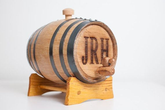 Engraved 2 Liter Mini Whiskey Barrel for groomsmen gifts- my fiance likes this idea
