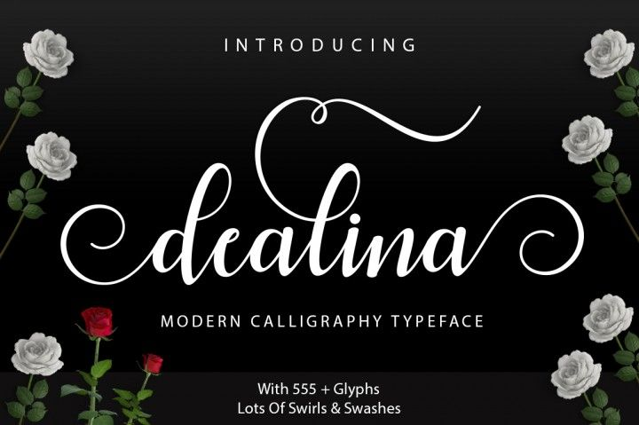 Introducing Dealina Script Dealina Script a new fresh & modern script with a handmade calligraphy style, decorative characters and a dancing baseline! So beautiful on invitation like greeting cards, branding materials, business cards, quotes, posters, and more!!