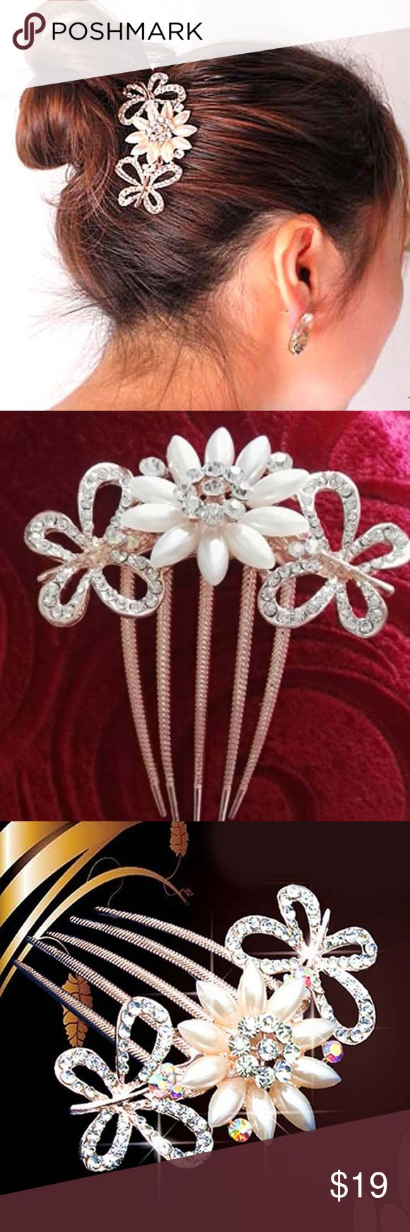 Rose Gold Crystal Pearl Bridal Hair Comb GPHC004 This stunning rose gold plated crystal rhinestone bridal hair comb looks exceptionally gorgeous on the side or back of an up-do, or half up half down hairstyle. I wouldn't recommend it for thin hair unless you're going to use it to adorn some sort of twist, braid, bun or updo.  If your hair is thin use a few bobby pins to help anchor the comb into place and keep it secure. Metal Alloy:  Rose Gold Plate, Nickle-free, Lead-free, Faux Pearls, Austria