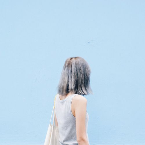 pastel blue wall grey blue hair