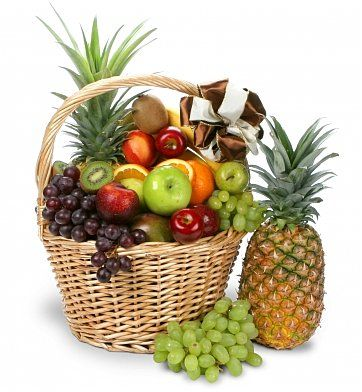Colossal Get Well Fruit Basket: Fruit Gift Baskets - Luscious, ripened fruits in a handsome basket.