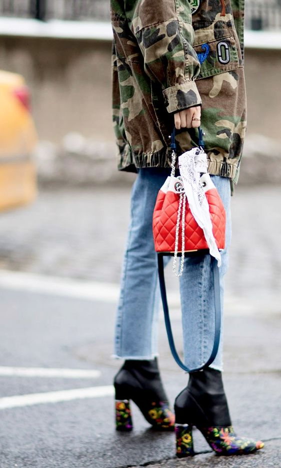 The Best NYFW Fall 2017 Street Style - Fall & Winter Fashion Outfit Ideas | New York Fashion Week F/W 17 | raw denim, camo, and floral embroidered heels