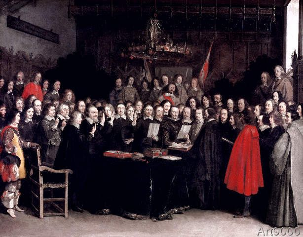 Gerard ter Borch or Terborch - The Swearing of the Oath of Ratification of the Treaty of Munster, 1648