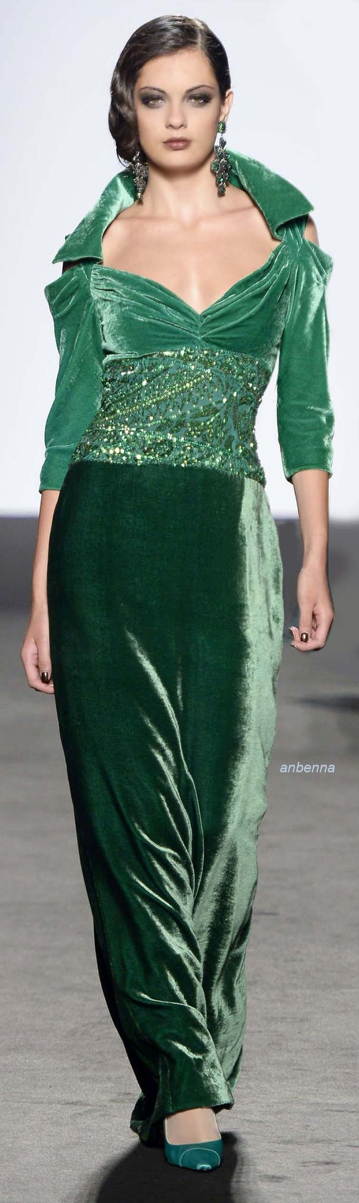 I love this designer outfit! The emerald green and pine green pants are gorgeous! Pretty as a picture!