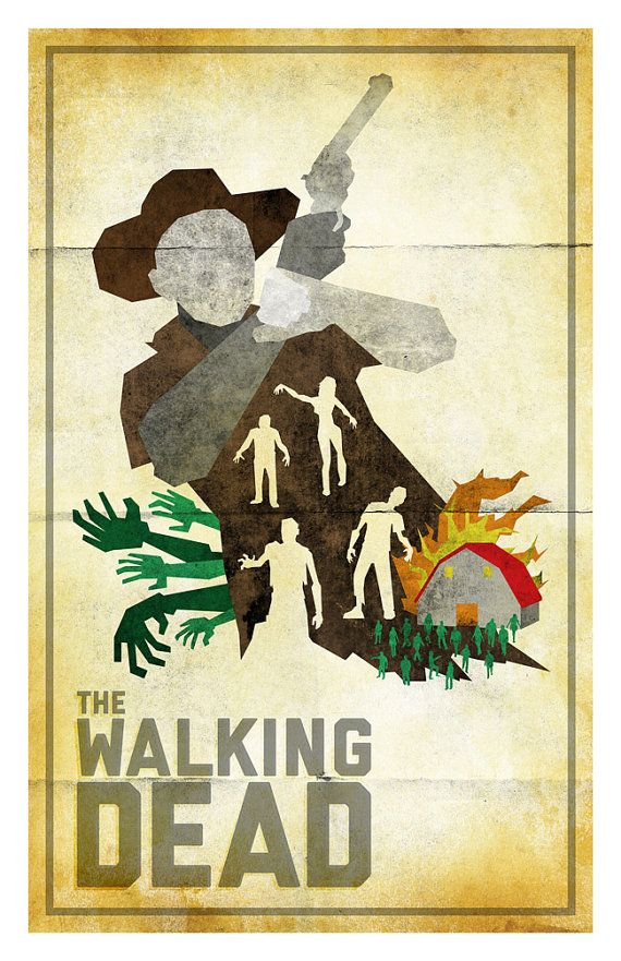 """This """"The Walking Dead"""" poster is based off the design of the 1967 Spaghetti Western movie poster for """"Death Rides a Horse"""" but with a minimal/modern style."""