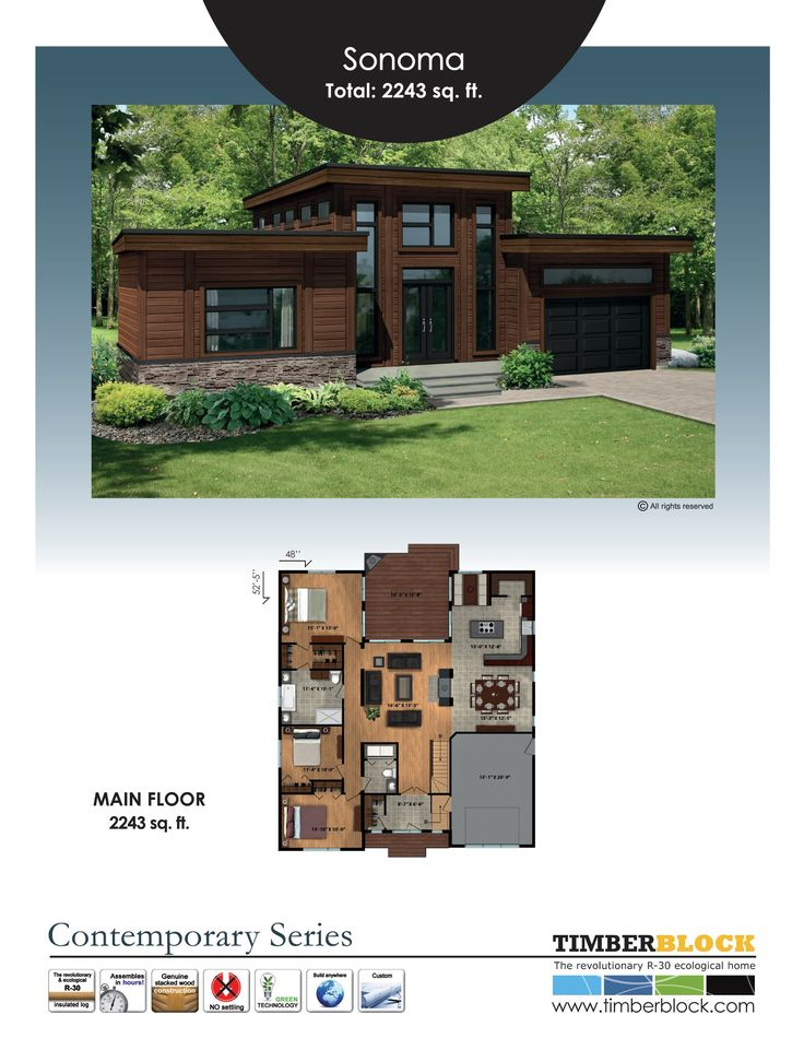 The Sonoma is a model found in Timber Block's Contemporary Series. It's over 2200 square feet, one level, with ceilings up to 15 feet high. It has 3 bedrooms, 2 baths, with open living space, and close to 240 square feet of outdoor living space! Visit www.timberblock.com