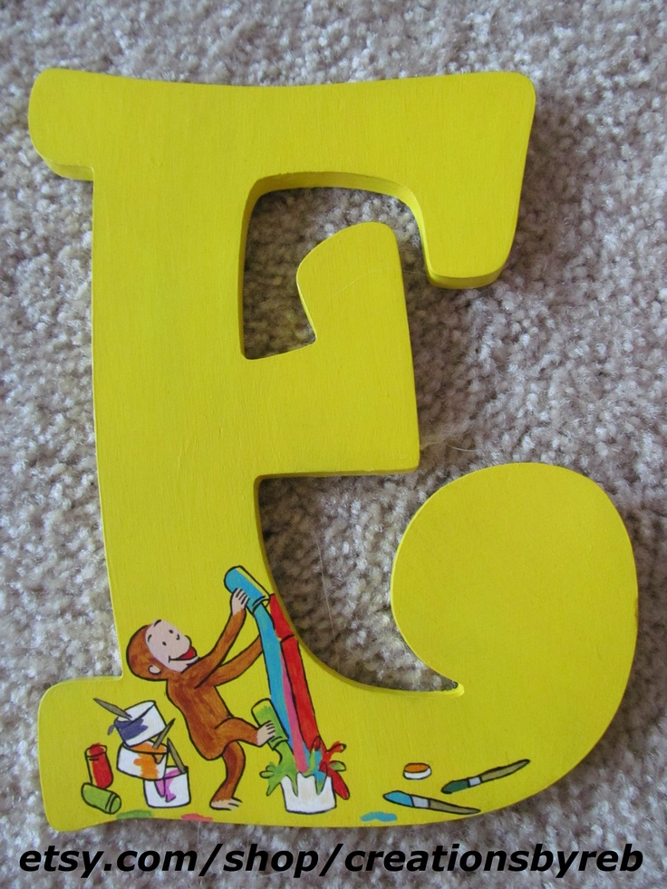 Beautiful wooden Curious George letters for a nursery or play room. These make great Christmas and baby shower gifts!