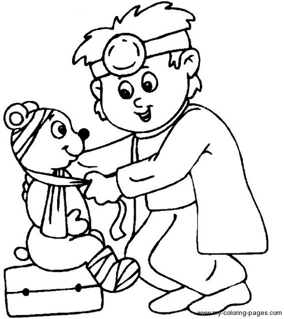 Boy playing Doctor colouring pages