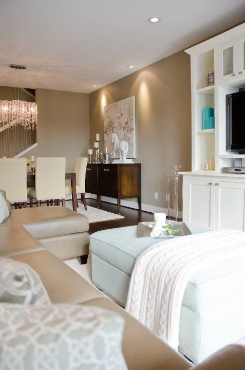 Suzie: Twenty One Two - Gorgeous taupe walls, crisp white media cabinet, turquoise blue ...