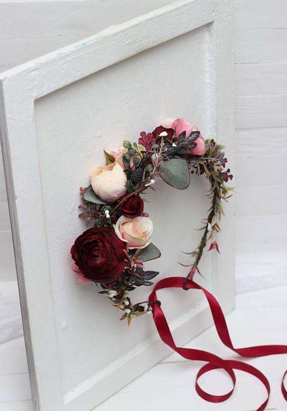 Burgundy blush pink beige eucalyptus flower crown Floral accessories Wedding hair wreath Flower halo Bridal headband Bridesmaid headpiece