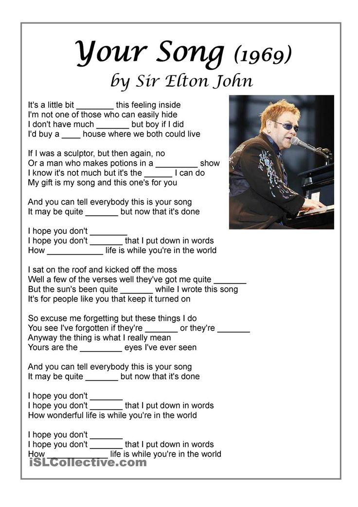 Song Your Song by Elton John to practise feelings vocabulary