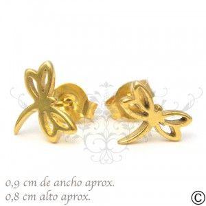 ERT_1043, aros, acero, circón, fiesta, accesorios, moda, joya, libelula, oro